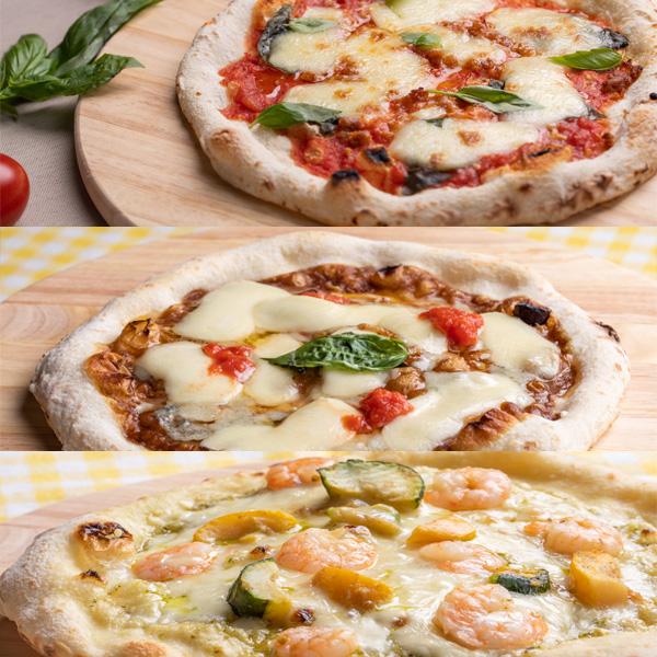 薪窯で焼いた三種のピザ【本格ピッツァよくばり三種セット】